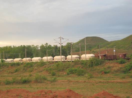 Train carrying Bauxite from the mountains